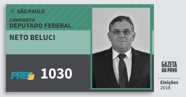 Santinho Neto Beluci 1030 (PRB) Deputado Federal | São Paulo | Eleições 2018
