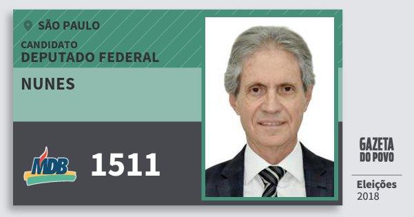 Santinho Nunes 1511 (MDB) Deputado Federal | São Paulo | Eleições 2018