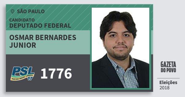 Santinho Osmar Bernardes Junior 1776 (PSL) Deputado Federal | São Paulo | Eleições 2018