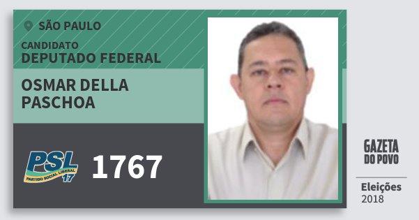 Santinho Osmar della Paschoa 1767 (PSL) Deputado Federal   São Paulo   Eleições 2018