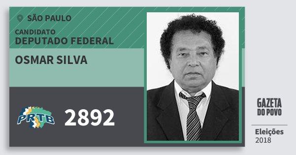 Santinho Osmar Silva 2892 (PRTB) Deputado Federal | São Paulo | Eleições 2018