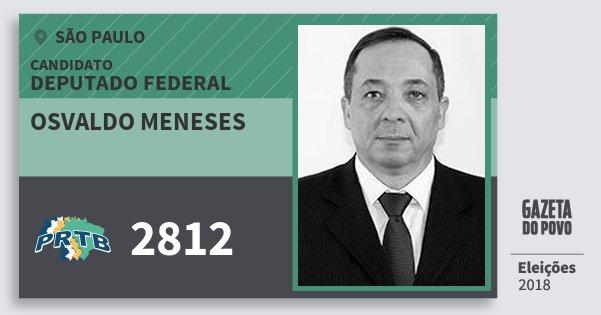 Santinho Osvaldo Meneses 2812 (PRTB) Deputado Federal | São Paulo | Eleições 2018
