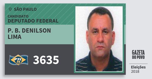 Santinho P. B. Denilson Lima 3635 (PTC) Deputado Federal | São Paulo | Eleições 2018