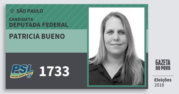 Santinho Patricia Bueno 1733 (PSL) Deputada Federal | São Paulo | Eleições 2018