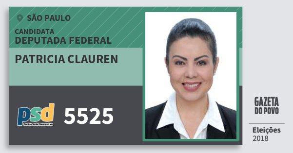 Santinho Patricia Clauren 5525 (PSD) Deputada Federal | São Paulo | Eleições 2018