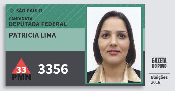 Santinho Patricia Lima 3356 (PMN) Deputada Federal | São Paulo | Eleições 2018
