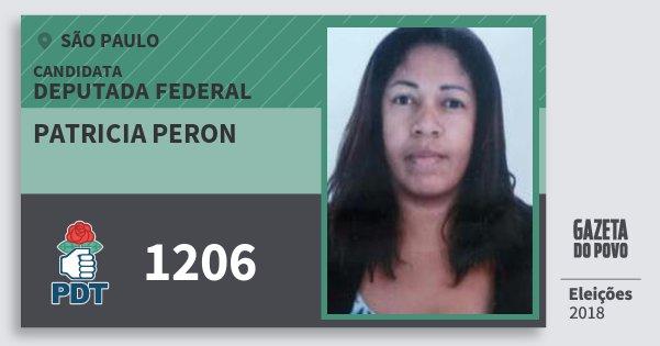 Santinho Patricia Peron 1206 (PDT) Deputada Federal | São Paulo | Eleições 2018