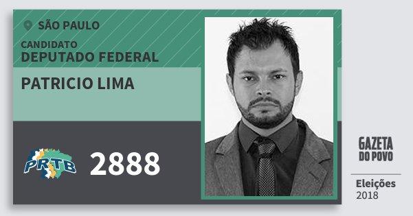 Santinho Patricio Lima 2888 (PRTB) Deputado Federal | São Paulo | Eleições 2018