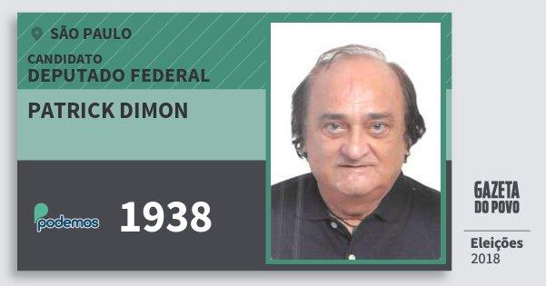 Santinho Patrick Dimon 1938 (PODE) Deputado Federal | São Paulo | Eleições 2018