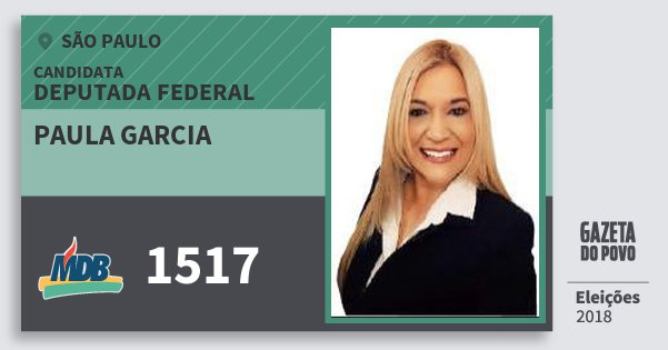 Santinho Paula Garcia 1517 (MDB) Deputada Federal | São Paulo | Eleições 2018