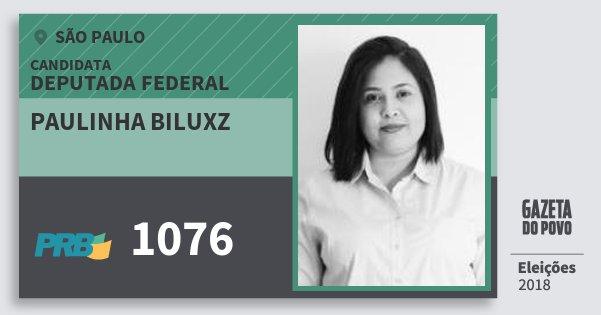 Santinho Paulinha Biluxz 1076 (PRB) Deputada Federal | São Paulo | Eleições 2018
