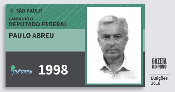 Santinho Paulo Abreu 1998 (PODE) Deputado Federal | São Paulo | Eleições 2018