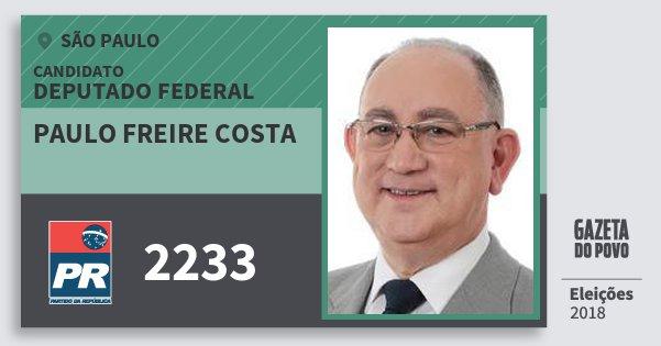 Santinho Paulo Freire Costa 2233 (PR) Deputado Federal   São Paulo   Eleições 2018