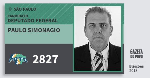 Santinho Paulo Simonagio 2827 (PRTB) Deputado Federal | São Paulo | Eleições 2018