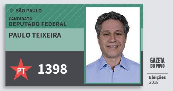 Santinho Paulo Teixeira 1398 (PT) Deputado Federal | São Paulo | Eleições 2018