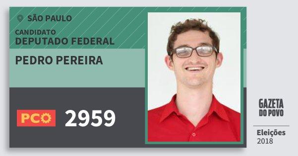 Santinho Pedro Pereira 2959 (PCO) Deputado Federal | São Paulo | Eleições 2018