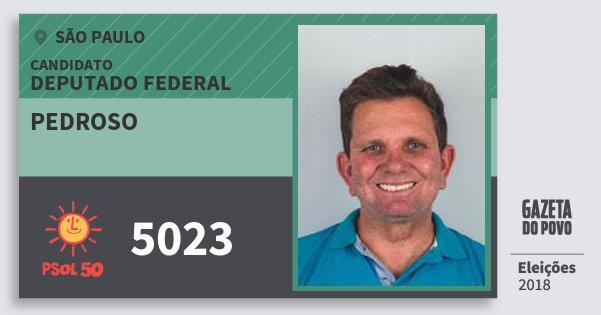 Santinho Pedroso 5023 (PSOL) Deputado Federal   São Paulo   Eleições 2018