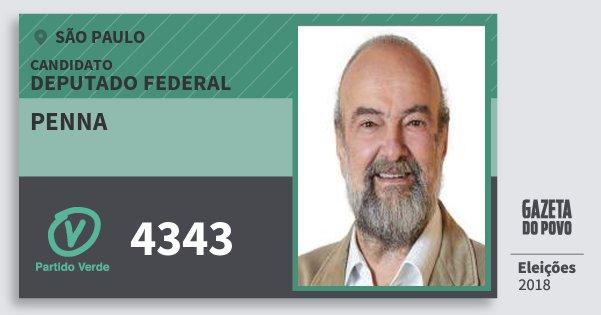 Santinho Penna 4343 (PV) Deputado Federal | São Paulo | Eleições 2018