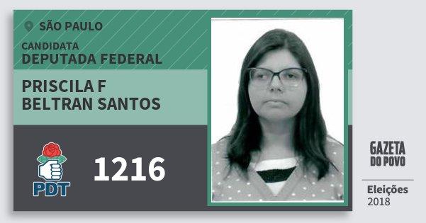 Santinho Priscila F Beltran Santos 1216 (PDT) Deputada Federal | São Paulo | Eleições 2018