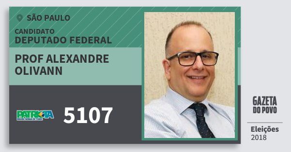 Santinho Prof Alexandre Olivann 5107 (PATRI) Deputado Federal | São Paulo | Eleições 2018