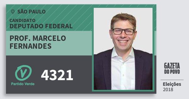 Santinho Prof. Marcelo Fernandes 4321 (PV) Deputado Federal | São Paulo | Eleições 2018
