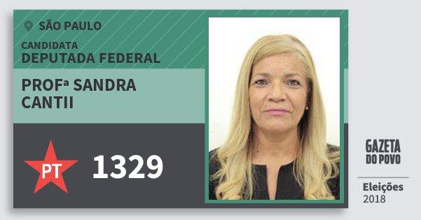 Santinho Profª Sandra Cantii 1329 (PT) Deputada Federal | São Paulo | Eleições 2018
