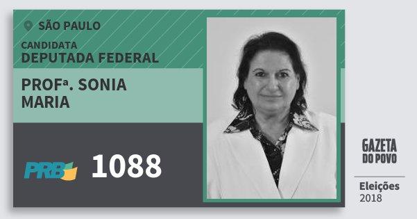 Santinho Profª. Sonia Maria 1088 (PRB) Deputada Federal | São Paulo | Eleições 2018