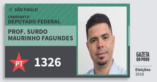 Santinho Prof. Surdo Maurinho Fagundes 1326 (PT) Deputado Federal | São Paulo | Eleições 2018