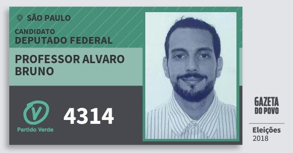 Santinho Professor Alvaro Bruno 4314 (PV) Deputado Federal   São Paulo   Eleições 2018