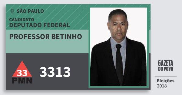 Santinho Professor Betinho 3313 (PMN) Deputado Federal | São Paulo | Eleições 2018