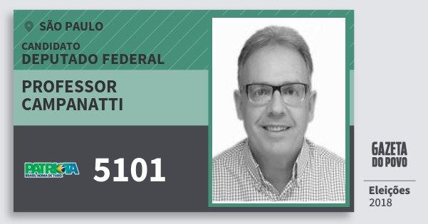 Santinho Professor Campanatti 5101 (PATRI) Deputado Federal | São Paulo | Eleições 2018