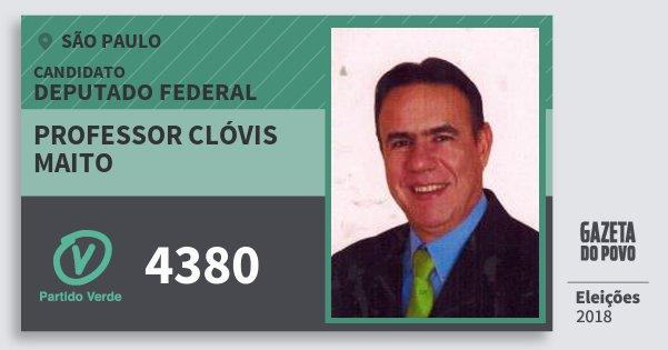 Santinho Professor Clóvis Maito 4380 (PV) Deputado Federal | São Paulo | Eleições 2018