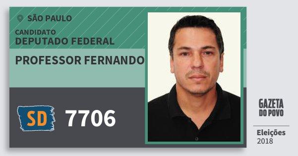 Santinho Professor Fernando 7706 (SOLIDARIEDADE) Deputado Federal | São Paulo | Eleições 2018