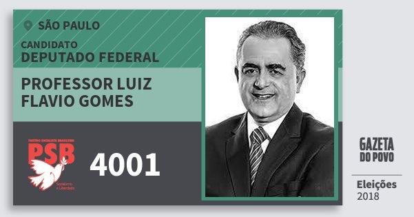 Santinho Professor Luiz Flavio Gomes 4001 (PSB) Deputado Federal | São Paulo | Eleições 2018