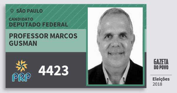 Santinho Professor Marcos Gusman 4423 (PRP) Deputado Federal | São Paulo | Eleições 2018