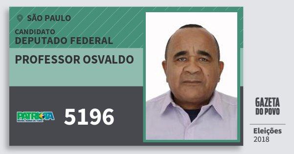 Santinho Professor Osvaldo 5196 (PATRI) Deputado Federal | São Paulo | Eleições 2018