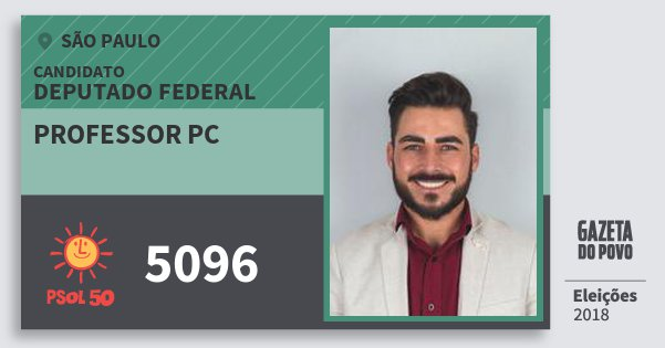 Santinho Professor Pc 5096 (PSOL) Deputado Federal | São Paulo | Eleições 2018