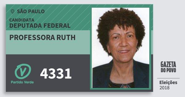 Santinho Professora Ruth 4331 (PV) Deputada Federal | São Paulo | Eleições 2018
