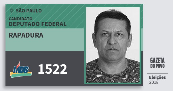 Santinho Rapadura 1522 (MDB) Deputado Federal | São Paulo | Eleições 2018