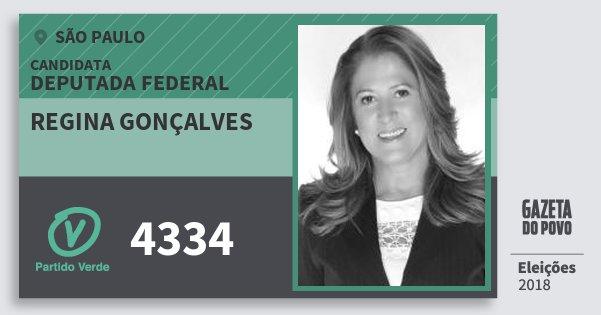Santinho Regina Gonçalves 4334 (PV) Deputada Federal | São Paulo | Eleições 2018