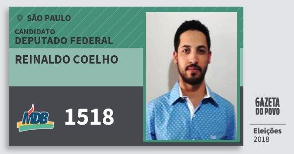 Santinho Reinaldo Coelho 1518 (MDB) Deputado Federal   São Paulo   Eleições 2018