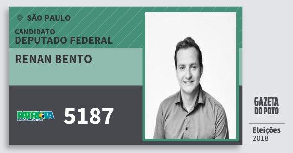 Santinho Renan Bento 5187 (PATRI) Deputado Federal | São Paulo | Eleições 2018