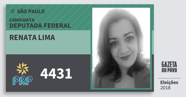 Santinho Renata Lima 4431 (PRP) Deputada Federal | São Paulo | Eleições 2018