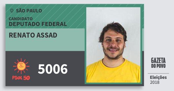 Santinho Renato Assad 5006 (PSOL) Deputado Federal | São Paulo | Eleições 2018