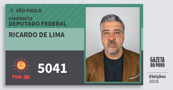 Santinho Ricardo de Lima 5041 (PSOL) Deputado Federal | São Paulo | Eleições 2018