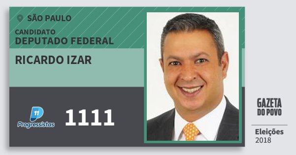 Santinho Ricardo Izar 1111 (PP) Deputado Federal | São Paulo | Eleições 2018