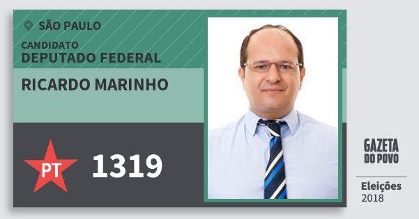 Santinho Ricardo Marinho 1319 (PT) Deputado Federal | São Paulo | Eleições 2018