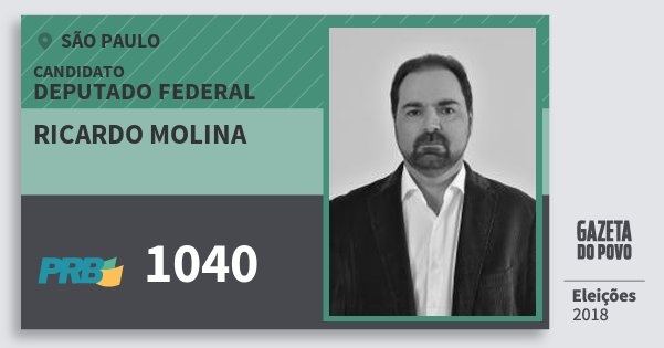 Santinho Ricardo Molina 1040 (PRB) Deputado Federal | São Paulo | Eleições 2018