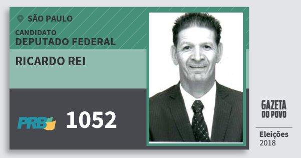 Santinho Ricardo Rei 1052 (PRB) Deputado Federal | São Paulo | Eleições 2018