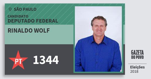 Santinho Rinaldo Wolf 1344 (PT) Deputado Federal | São Paulo | Eleições 2018